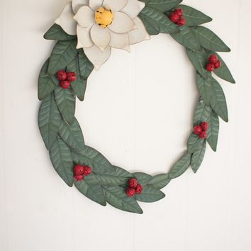 Painted Metal Magnolia Wreath