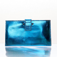 Leather Wallet in Electric Blue