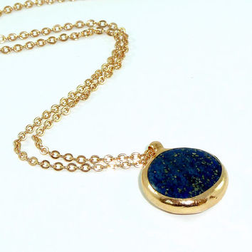 Lapis Necklace, Delicate Long 24k  Gold Necklace, Lapis & Gold Jewelry, Bezel Set Pendent, Framed Gemstones, September Birthstone.