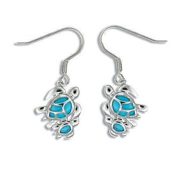 SILVER 925 BLUE TURQUOISE HAWAIIAN MOTHER BABY TURTLE EARRINGS WIRE HOOK RHODIUM