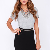 Zip and Run Black Pencil Skirt