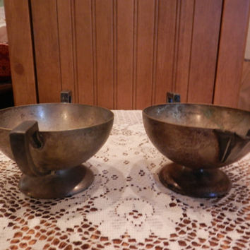 Vintage BB BENEDICT Silverplate Sugar Creamer Set Made In U.S.A. E.P.N.S. Art Deco Patina Kitchen Serving