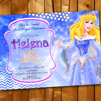 Princess Aurora Sparkle, Birthday Invitation, Birthday Party for little boy and little girl