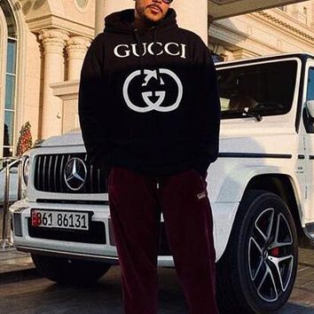 GUCCI trend classic big double g letter print logo hooded sweater