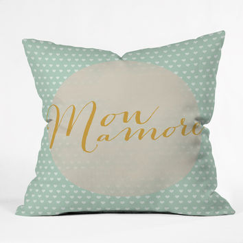 Allyson Johnson French My Love Outdoor Throw Pillow