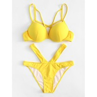 Cutout Strappy Push Up Bikini Set YELLOW