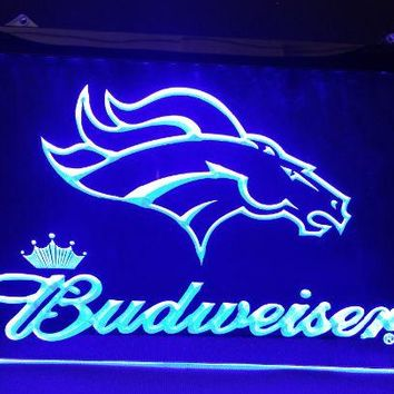b-144 denver Broncos Budweiser beer bar pub club 3d signs LED Neon Light Sign man cave