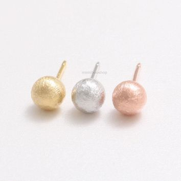Minimalist Brushed Texture 5.5mm Small Ball Orbs Stud Earrings-Silver Post Back