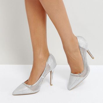 Qupid Mesh Point High Heels at asos.com
