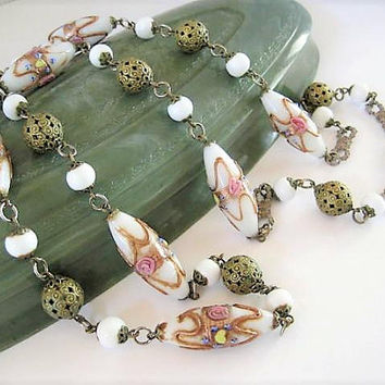 Venetian Glass Bead Necklace, Elongated Feather Design,34 Inches White Art Glass, Aventurine GoldStone Wrap, Italian Beads