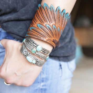 eagle wing leather cuff