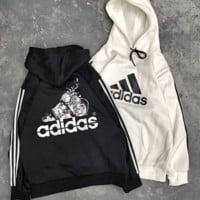 Adidas Fashion New Bust Letter Print And Back Letter Comic Print Sleeve Stripe Hooded Long Sleeve Top Sweater