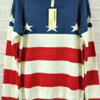 Retro Stripe Star Flag Loose Sweater
