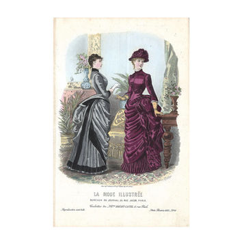 La Mode Illustrée, Hand Colored French Lithographic Print, 1870-90, Mode de Paris, Bréant-Castel