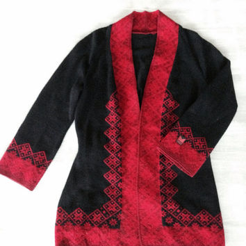 Dale of Norway knitted womens cardigan black red selburose, norwegian wool sweater, made in Norway, great Christmas gift idea, size Small