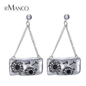 eManco geometric alloy dangle earrings for women dandelions art carving earring silver plated drop ear jewelry pendientes mujer