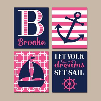 Girl NAUTICAL Wall Art, NAUTICAL Nursery, CANVAS or Prints, Baby Girl Nursery Decor, Navy Pink, Sailboat Anchor, Dreams Set Sail, Set of 4