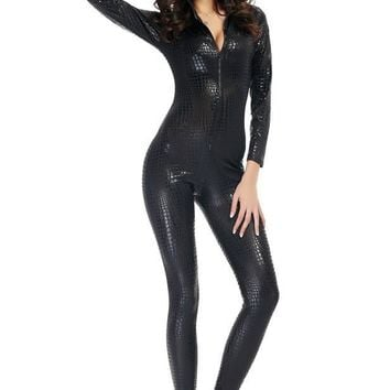 Sexy Gold Silver Black Faux Leather Snakeskin Bodysuit Latex Vinyl Jumpsuits & Rompers Catsuit Costume Sexy PVC Zipper Cat Suits