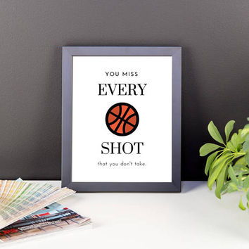 You Miss Every Shot You Don't Take Framed Poster | Motivation | Inspiration | Wall Art | Basketball | Gifts for Entrepreneurs | Home Office