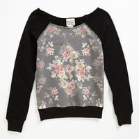 Pretty Rebellious Floral Inset Sweatshirt (Big Girls) | Nordstrom