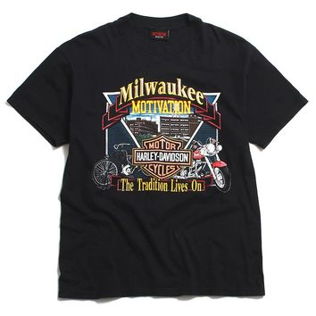 Vintage Logo House Of Harley Davidson T-Shirt Black (Medium)