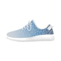 Ombre blue and white swirls zentangle Grus Women's Breatheable Woven Running Shoes (Model 022) | ID: D408551