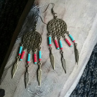 Bronze dangle earrings. Turquoise and red beads earrings. Feather earrings. Western earrings. Tribal earrings.