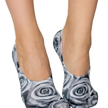 Black and White Roses Liner Socks