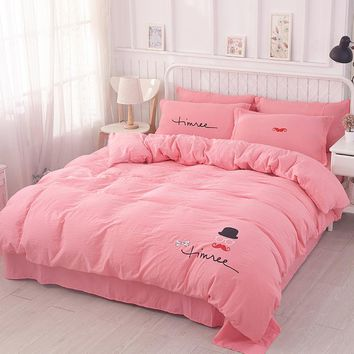 Bedding Home Textiles Outlet Pink Cute rabbit pattern 4Pcs Duvet cover Bed sheet  Pillowcase quilt cover bed set Real bed linen