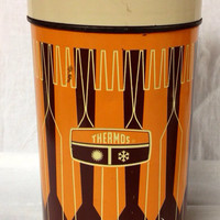 Metal Thermos Forks and Spoons Orange Brown Pint Size 1970s King Seeley