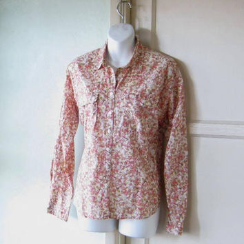 Retro '90s Western Shirt in Coral/Pink Small Bird Print; Long-Sleeve Cotton Button-Up Casual/Work Top; U.S. Shipping Included