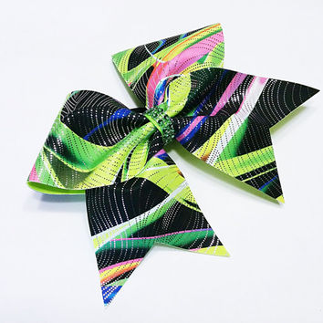 Cheer bow, Green cheer bow, graffiti cheer bow, Cheerleading bow, Cheerleader bow, Dance bow, Softball bow, Cheerbow,