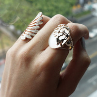 Rose Gold Plated Flower & Butterfly Cut Out with White Moonstone Fashion Cocktail Ring