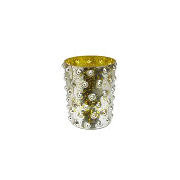 "5"" Yellow and Silver Hobnail Mercury Glass Decorative Votive Candle Holder"