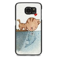 EZILLION Personalized Cover For Samsung Galaxy S6 Edge Cat Kiss