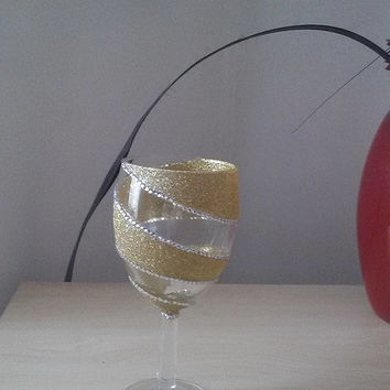 Single Spiral Glitter Wine Glass