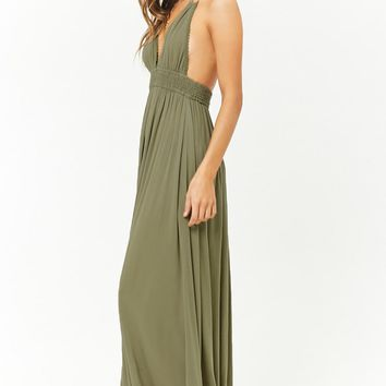Tasseled Halter Crinkled Maxi Dress