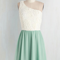 Pastel Mid-length One Shoulder A-line Where the Delight Is Dress by ModCloth