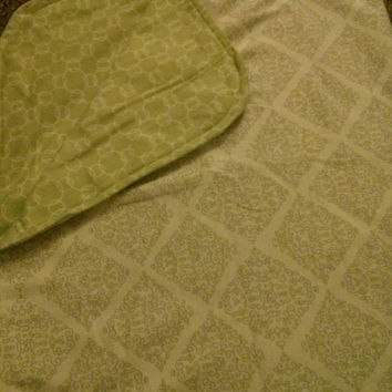 Green, yellow, and gray reversible receiving blanket