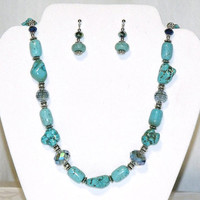 Turquoise Necklace and Earrings - stone nuggets gray crystals turquoise jewelry