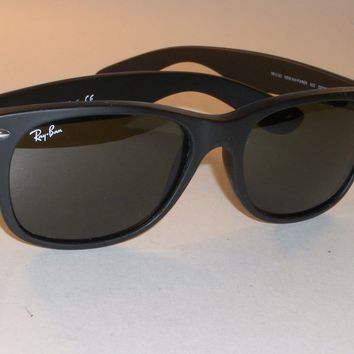 RAY BAN RB2132 55[]18M MATTE BLACK G15 UV GLASS LENS WAYFARERs SUNGLASSES w/CASE
