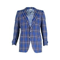 1960s Men's Vintage Blue Checked Wool Blazer with Atomic Print lining.