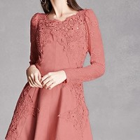 Faux Suede Crochet Lace Dress