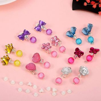 7 Pairs=1 Box Color Crystal Children Baby Girl Earrings Kids Pink Jelly Beads Ear Clip On Pierced Earrings Jewelry Party Gifts