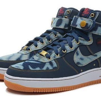 ESBBE6 Nike Air Force 1 High Denim Blue For Women Men Running Sport Casual Shoes Sneakers