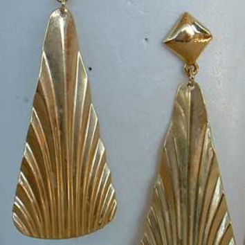 Geometric Retro Art Deco Style Dangle Earrings Post Style Triangles Vintage Jewelry
