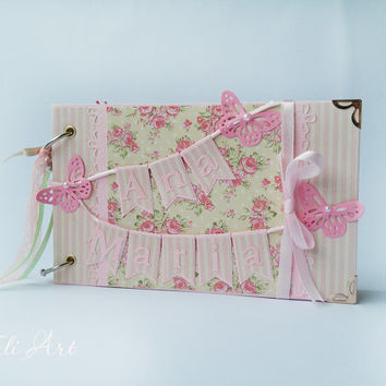 Baby album, Personalised Baby Girl Photo Album, Baby's First Year Memory Book, Butterfly Baby Album