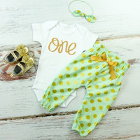 Mint & Gold Polka Dot High Waisted Pants Outfit, 1st Birthday Pants Outfit with Knotted Headband