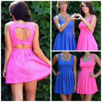 Queen of Hearts Fuchsia Cut Out Summer Dress
