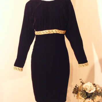 Vintage 80s Black Velvet Cocktail Dress Gold Fabric Trim Empire Waist V Back Special Occasion